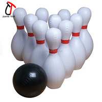 Customized Logo Printing Inflatable Bowling Pin / Bowling Ball Games For Promotion