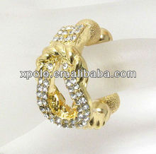fashion crystal knot with bead stretch ring