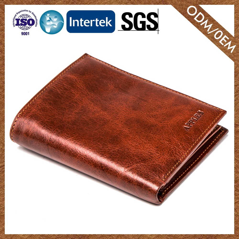 Popular Custom Logo Casual Quality Assured Brown Leather Purses Wallets