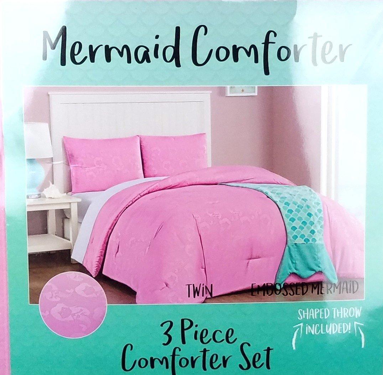 b8c5189d42b327 Get Quotations · Mermaid Comforter Set Twin Size Bed Embossed Mermaid  Design with Mermaid Tail Throw Blanket Girls Pink