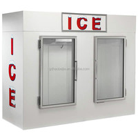 1000 Liter Double Glass door Freezer Bagged ice storage bin for sale