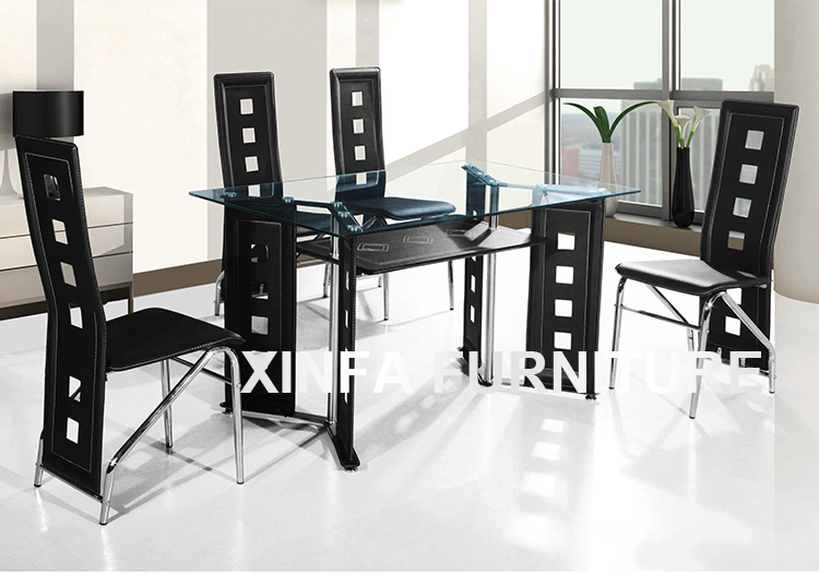 Cheap Wholesale Double Black Glass Dining Table And 4 6 Chairs Set