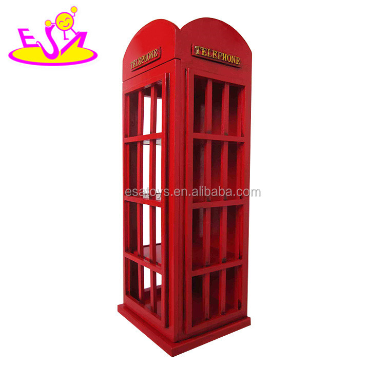 Best design vintage telephone booth wooden wine cabinet for home decoration W08C216