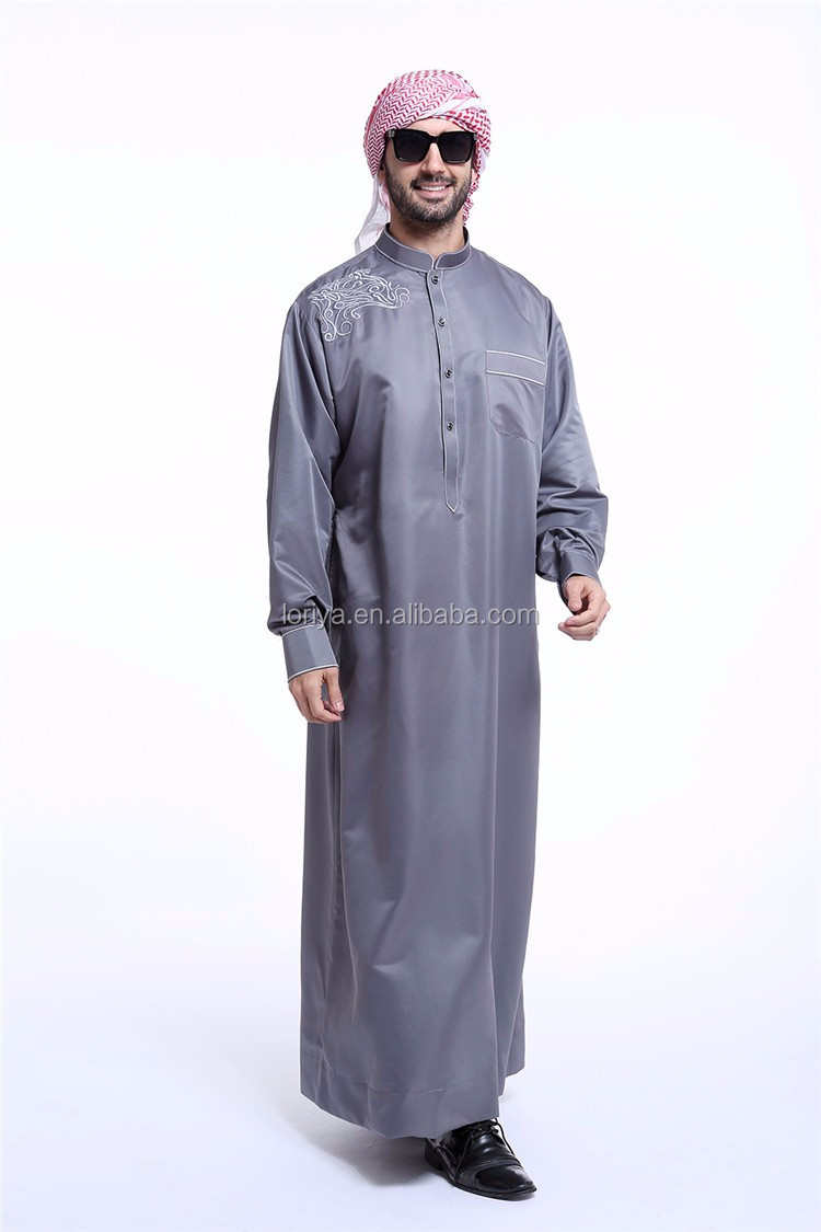 Muslim high quality embroidered men arab thobe newest designs men saudi thobe islamic daffah thobe