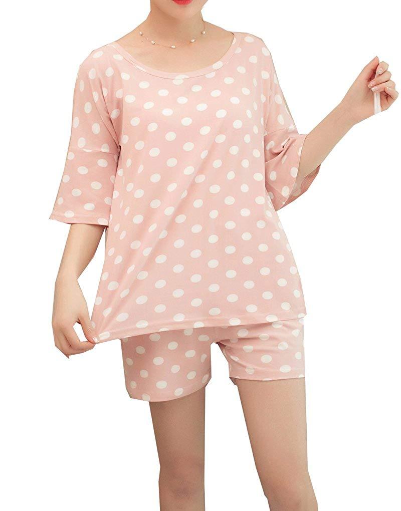 Get Quotations · MyFav Young Girls Summer Pajama Sets Pretty Polka Dots  Loungewear Sleepwear 0c872729c