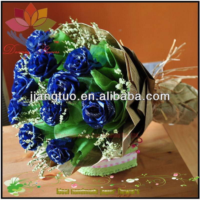 Royal blue silk rose flower bouquets for valentine's day