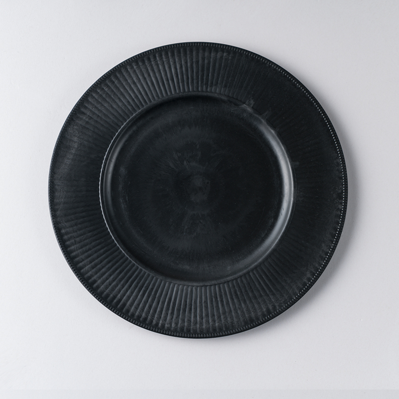 Black Round Shape Charger Plates For cake Decoration