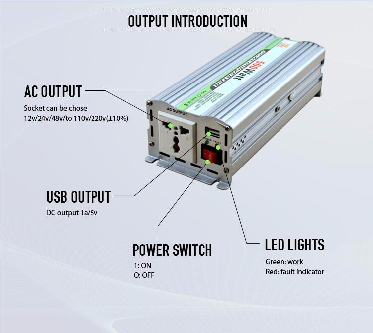 China Factory Price Inverter 12v 220v 500w/12v 220v Solar Power ...