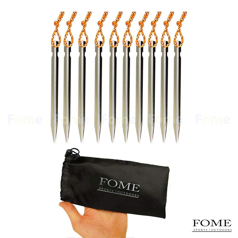 Tent Stakes, FOME SPORTS|OUTDOORS 10PCS Aluminum Tent Stakes; Aluminum triangular Nails;Ultralight Y Beam Design; Heavy Duty Reflective Pull Cords with Storage Bag One Year Warranty