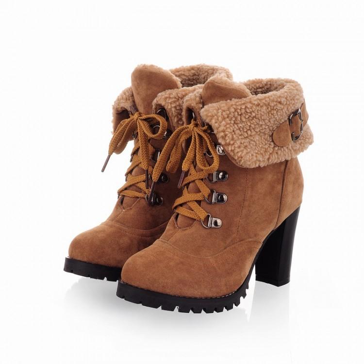 efafb8a31121 Новинка Большой размер зима искусственного меха замшевые босоножки толстый  каблук ботильоны женщин на высоких каблуках сапоги