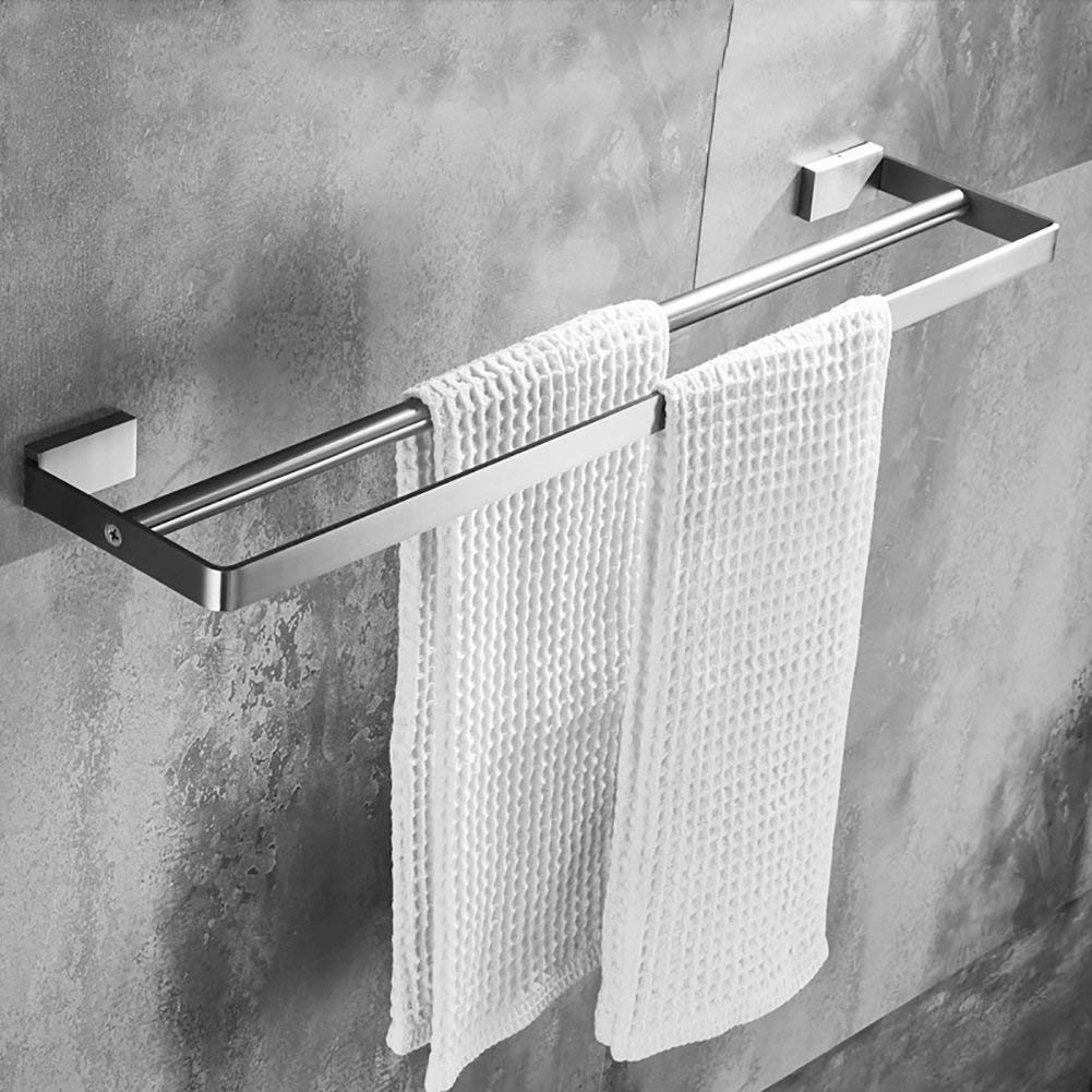 EQEQ Towel Holder Towel Holder/304 Stainless Steel Towel Rail/Bath Rooms Double Towel Rack Towel Rack/Bar/Bath Rooms Thickening Accessories (Size: 60 cm).