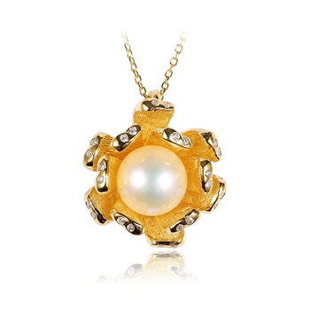 18K Gold Plated Button Pearl 925 Sterling Silver Chain Necklace
