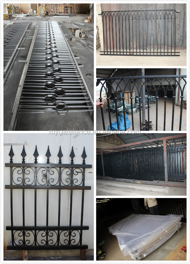 Low price powder painted used metal fence panels, galvanized steel fence posts