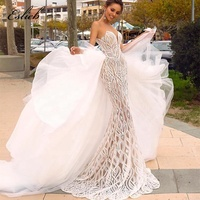 Mermaid Illusion Shoulder special lace Open-Back Back Tulle Detachable Train Wedding Dresses