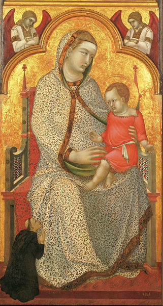 Canvas Art Prints Fabric <font><b>Decor</b></font> Pietro Lorenzetti <font><b>Italian</b></font> Siena Assisi Arezzo Florence Virgin Child Enthroned Donor Angels