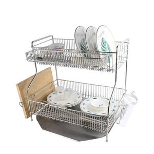 Low MOQ Multifunctional 2 Tier Dish Drying Rack with Drainboard/Chopstick Holder/Cup Holder
