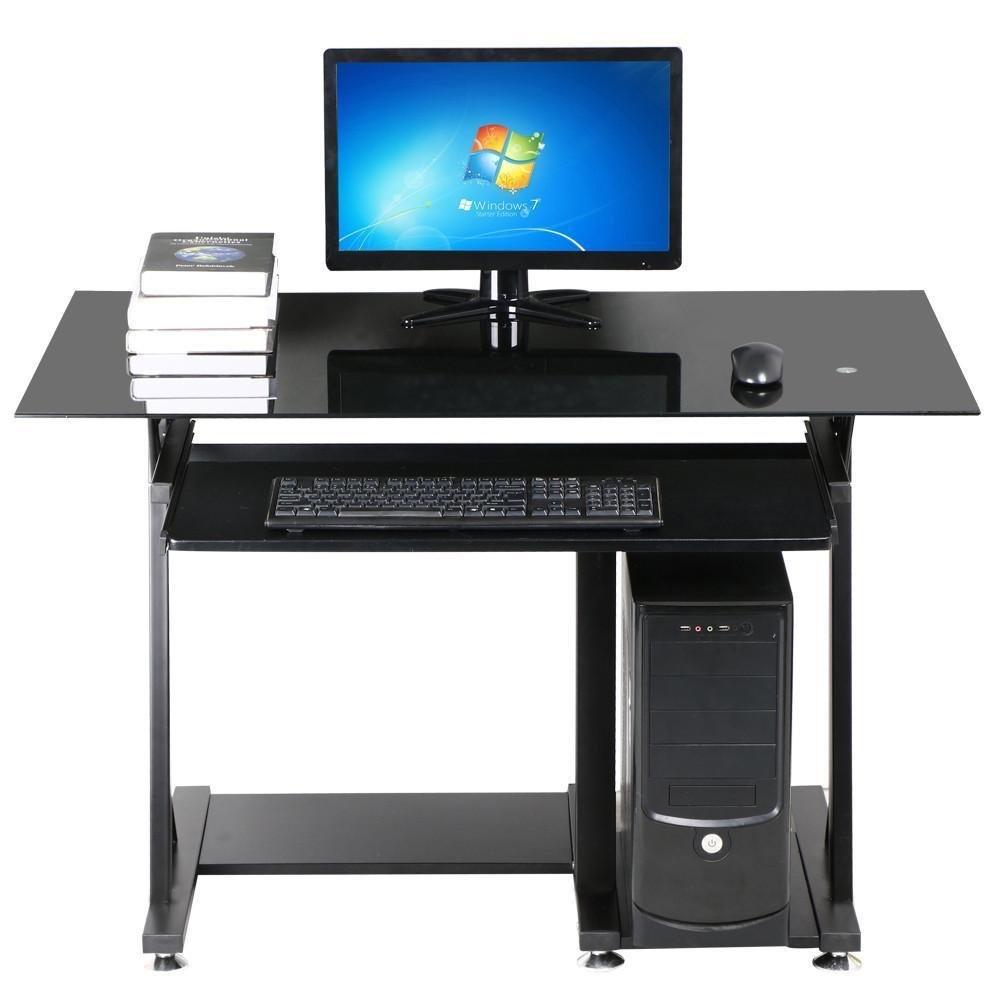 Get Quotations · Yaheetech Modern Glass Top Computer Desk Home Office Desk  With Keyboard Shelf Black