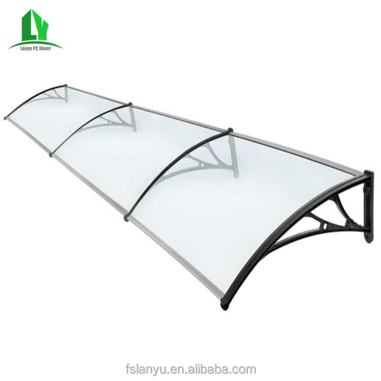 customized size wind screen vertical side 4x4 cheap panel pc glass awning