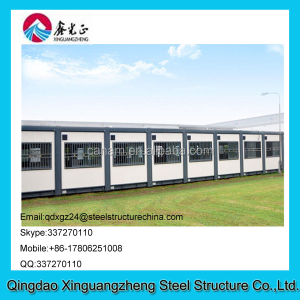 pre-built steel structure and sandwich frame container house for dormitary