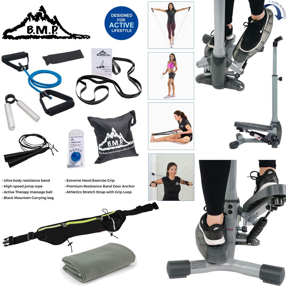 0def1c656c5 Sunny Health and Fitness Twist-in Stepper Step Machine Bundle with 7-Piece  Fitness