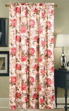 New Design Red Flower Pattern Polyester Printed Window Curtain