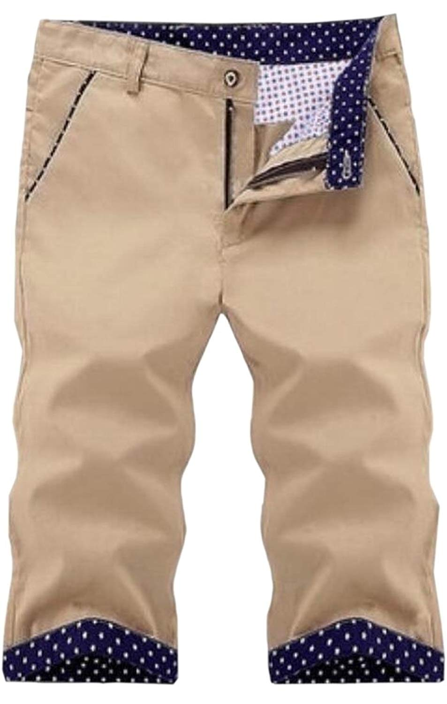 965c56d986ad25 Get Quotations · WSPLYSPJY Mens Casual Over Size Mid Waist Beach Elastic  Waist Capri Pants Short Pants Khaki M