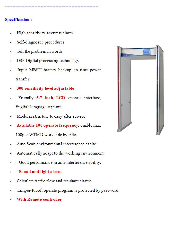 24 zones walk through gate TEC-EA180 walk through metal detector price