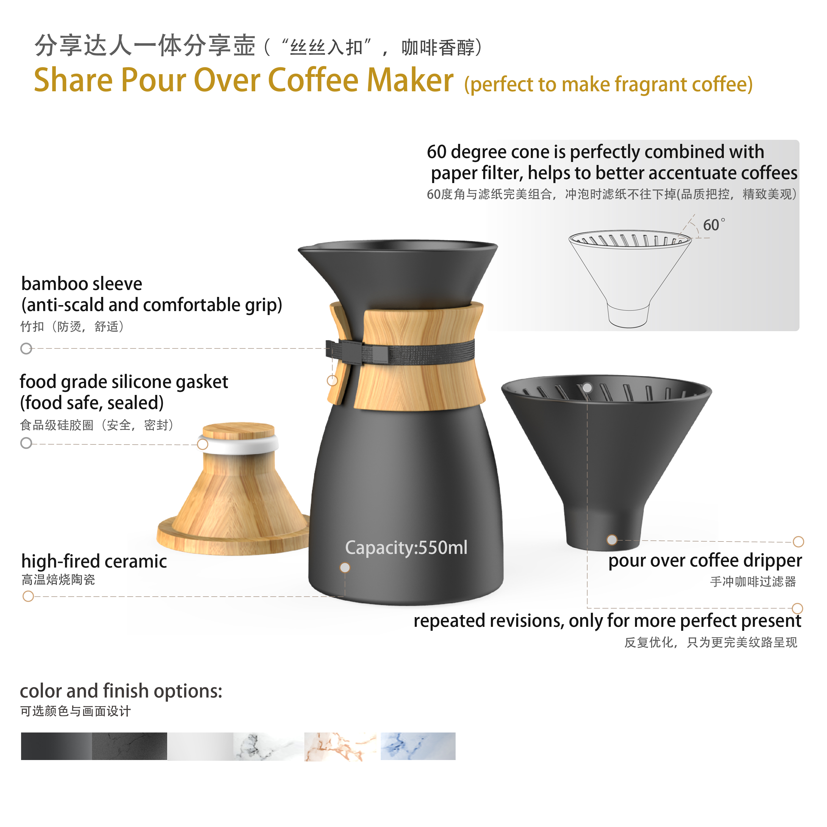DHPO Ceramic Pour Over Coffee Maker With Coffee Dripper Set