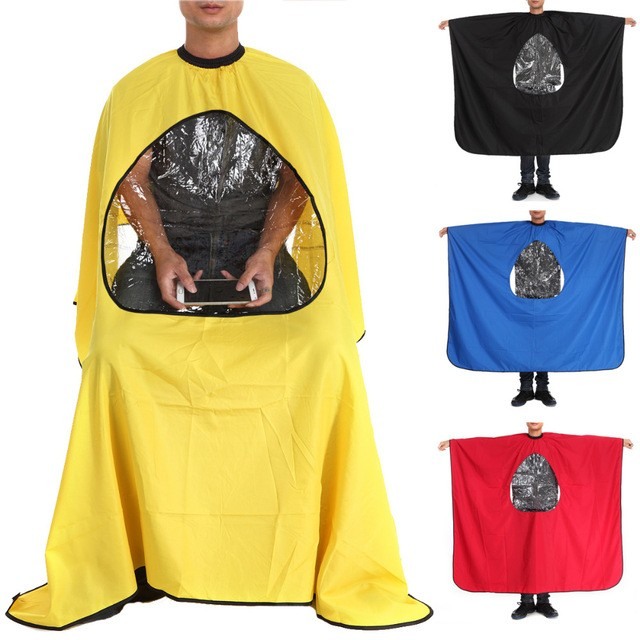 High Quality Fabric Disposable Polyester Hairdressing Barber Cutting Cape With Mobile Window Accepted Custom Logo