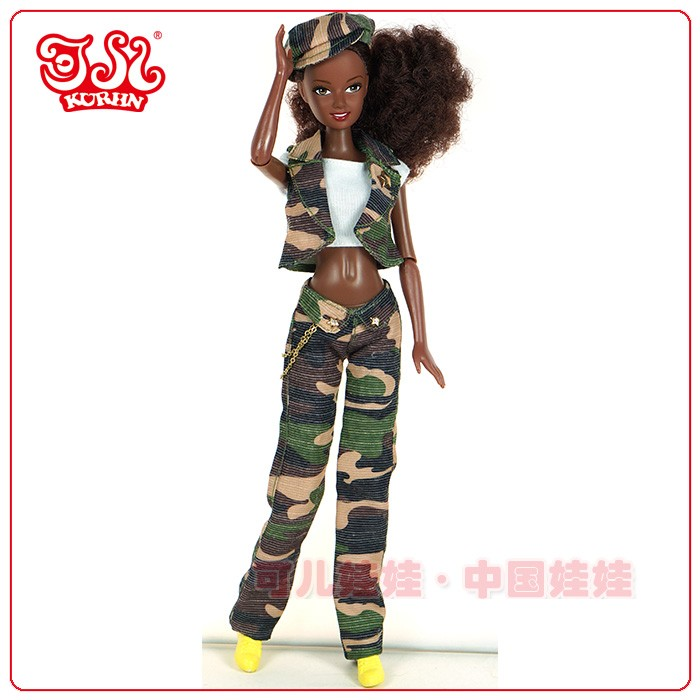 11.5 inch Amrican black doll afro plastic fashion doll