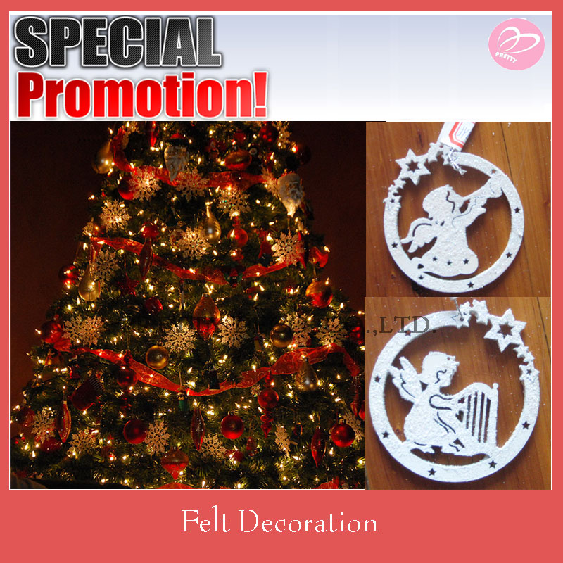 New white glitter circle shape with angel die cut style felt christmas tree decoration
