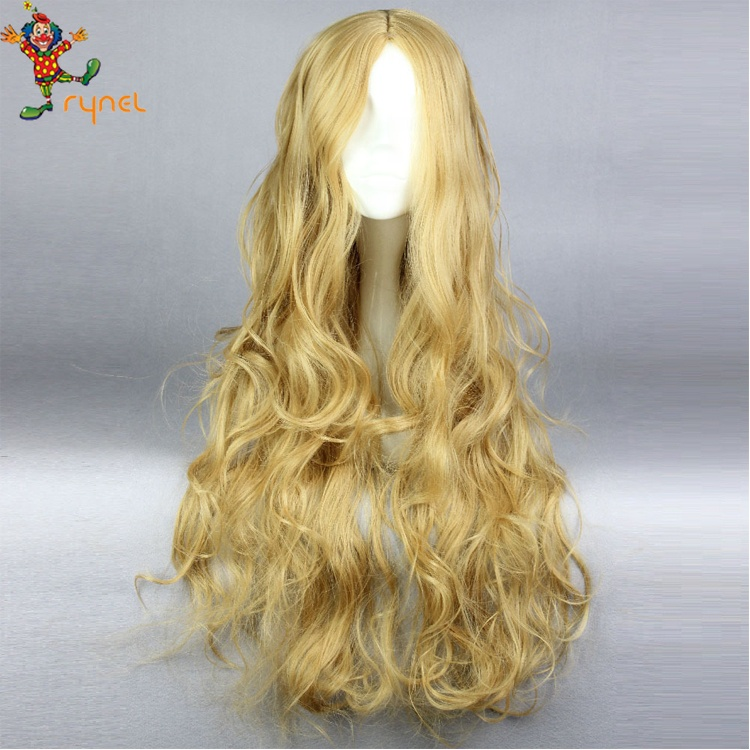Cinderella Wigs Live Action Movie Cosplay Adult Women High Heat Resistant Synthetic Hair Golden Long Party Wig