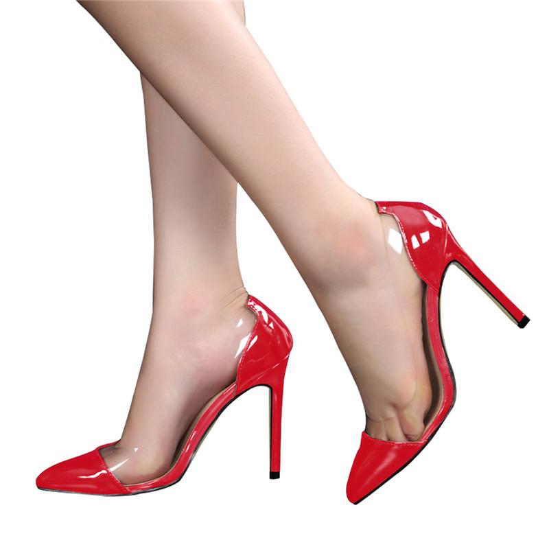 51f9f0c6101 2017 luxury women shoes brand design Custom made patent leather PVC black  black high heel shoes