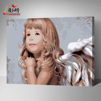 Home Decoration wall image on canvas painting by number from chinese factory of handmade natural scenery painting