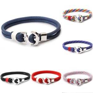 2018 Newest Small MOQ Jewelry Fashion Bracelet Mens Navy Nautical Rope Anchor Bracelet