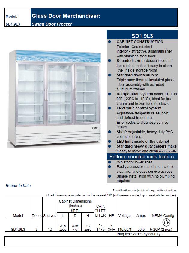 Best Upright Freezer 2020.Three Swing Glass Door Freezer Commercial Upright Freezer Best Buy Supermarket Refrigerated Display Case 1479 L 52 3 Cu Ft Buy True Glass Door
