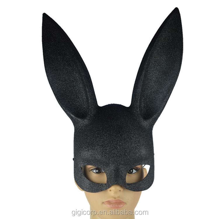 eco-friendly halloween plastic Glitter Black bunny ear mask rabbit mask