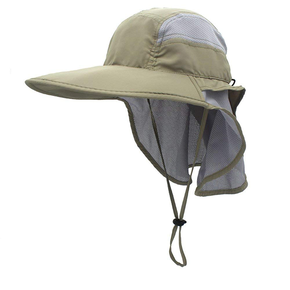 aef80734782 Get Quotations · GG ST Outdoor Sun Hat UPF 50+ Mesh Summer Protection Cap  with Neck Flap Breathable