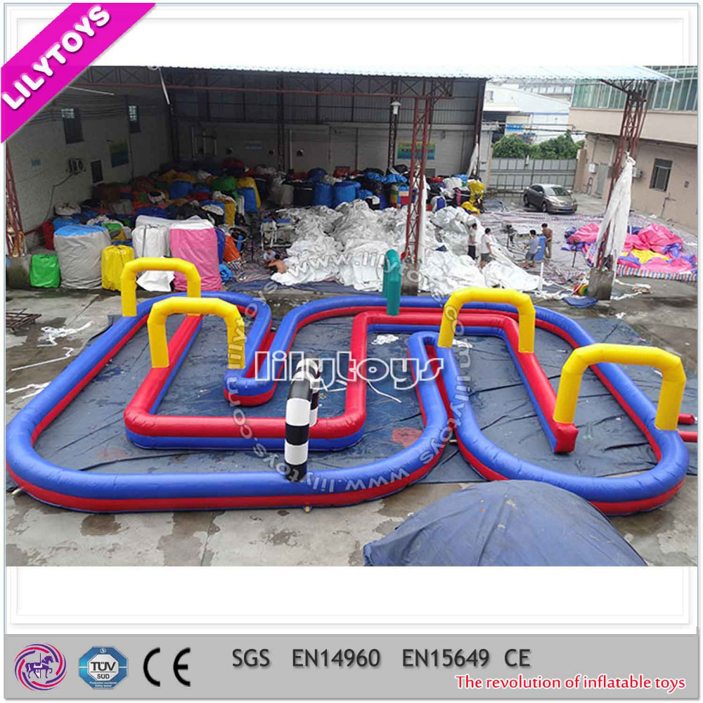 giant inflatable car racing way/inflatable play game car racing