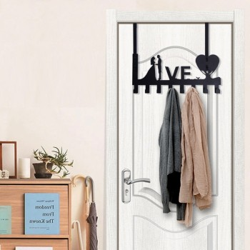 Metal Love Shape Over the Door Hanging Rack with 8 Hooks