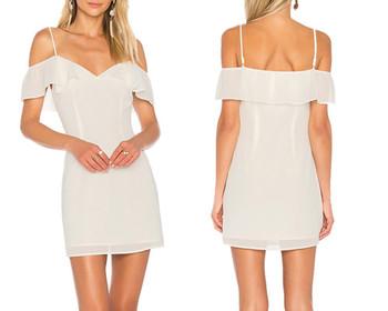 7d1b7b6c0b48 Branded clothing women sexy shoulder straps draped ruffle overlay celeste off  shoulder white mini dress