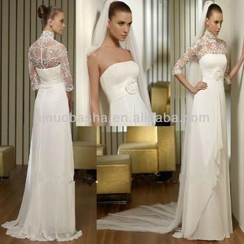 Charming 2014 Strapless Full-length Chiffon Empire Wedding Dresses ...