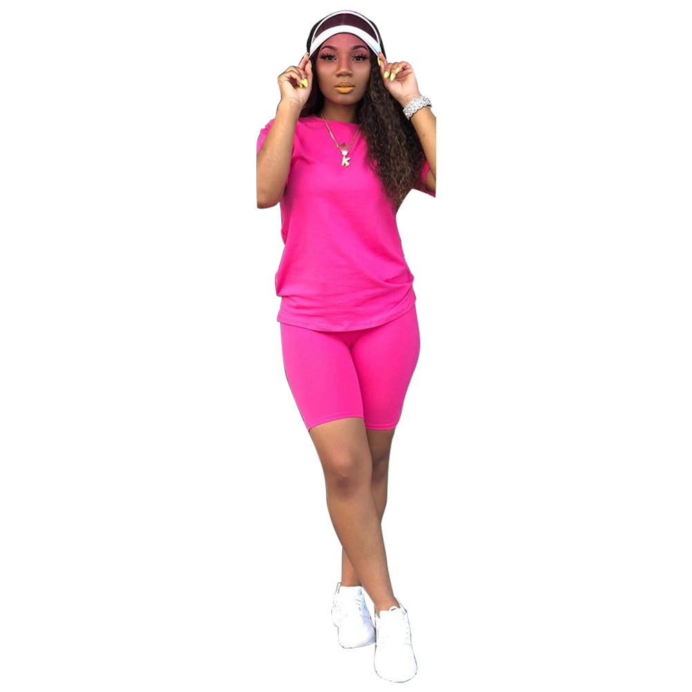 Hot Sale 9171 Women Clothing Cotton Short Sleeves Neon Two Pieces Shorts Set Casual 2 Piece Women Outfit