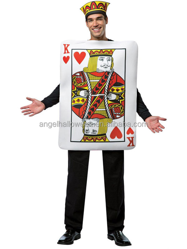 Mens King Of Hearts Poker Playing Card Halloween Fancy Dress Adult Costumes New AGM3135