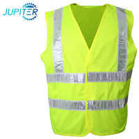 Polyester mesh breathable highly reflective green safety vest jacket with pockets