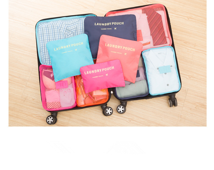 6Pcs Waterproof clothes packing cubes travel luggage organizer bag sets compression pouches