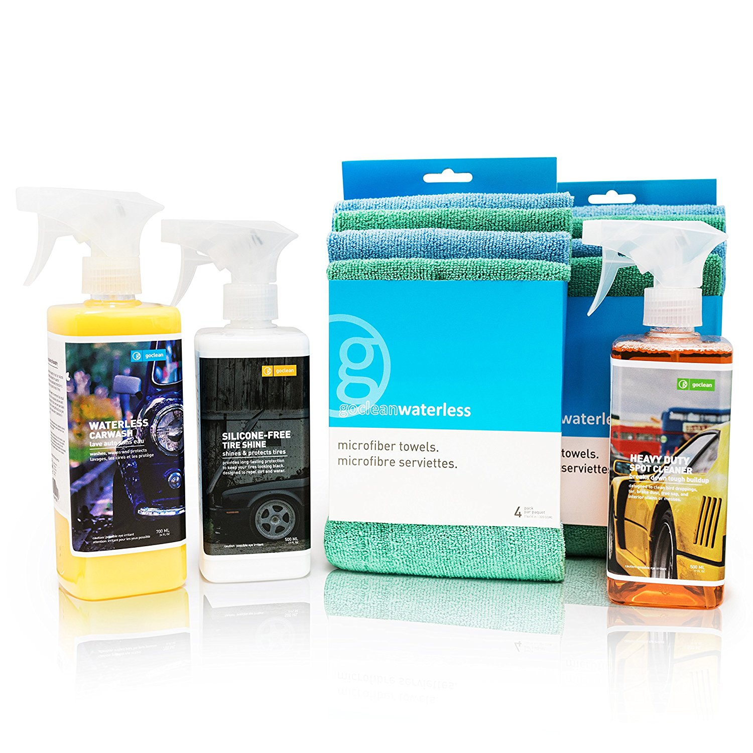 GoClean 5pc WATERLESS CAR WASH COMBO KIT - Waterless Car Wash Spray, Heavy Duty Spot Cleaner, Tire Shine Solution & 8 Microfiber Drying Towels - No Water Natural Exterior Auto Cleaning Gift Set