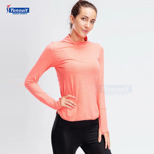 high quality outdoor gym fitness yoga wear long sleeve women sports t shirt mesh quick dry high neck yoga suit