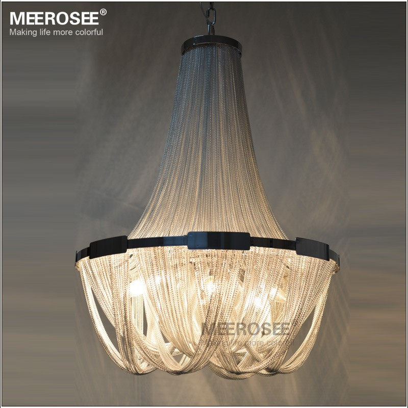 French Empire Chain Chandelier Light Fixture Long Chain Hanging Suspension Lustre Lamp Aluminum Chain Light MD2611