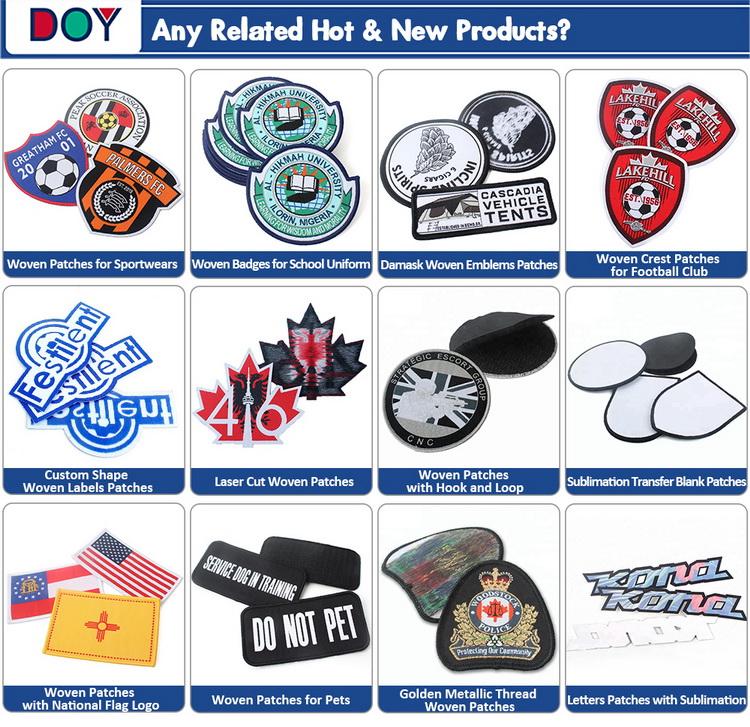 Iron on Design Custom Sport Club Name Logo Fabrics Merrow Border Machine Woven Patch for Sportswear